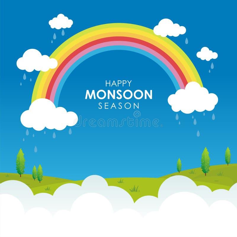 Счастливый сезон муссона, с иллюстрацией облака, радуги и дождя бесплатная иллюстрация