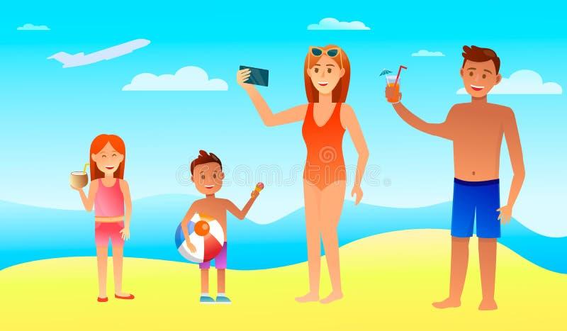 Счастливый семейный отдых с детьми в теплой стране иллюстрация вектора