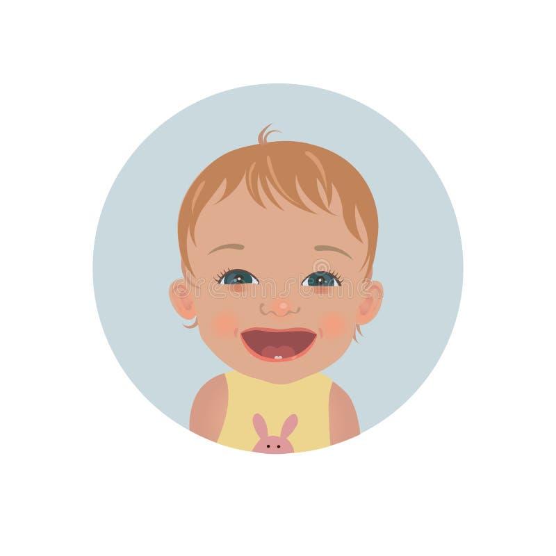 Счастливый смайлик младенца Усмехаясь emoji ребенка Милый жизнерадостный smiley малыша бесплатная иллюстрация