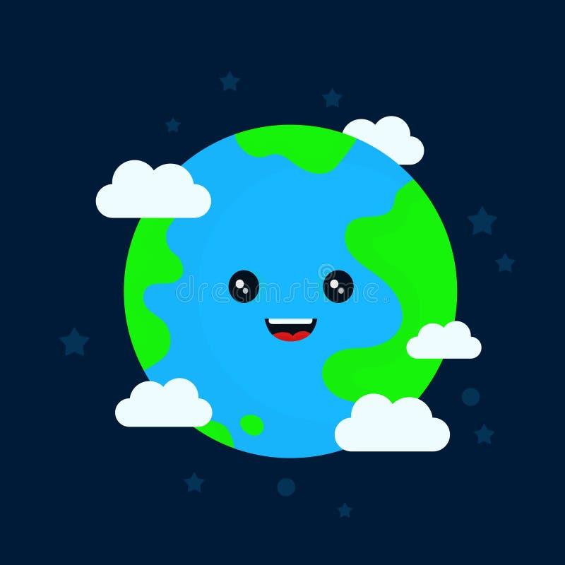 Счастливый смешной милый усмехаясь характер земли иллюстрация вектора