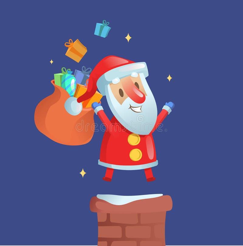 Счастливый смешной Санта Клаус с сумкой подарков на печной трубе Плоская иллюстрация вектора на голубой предпосылке иллюстрация вектора