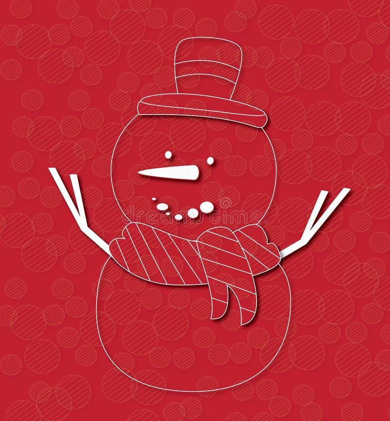 Счастливый снеговик на красной предпосылке иллюстрация штока
