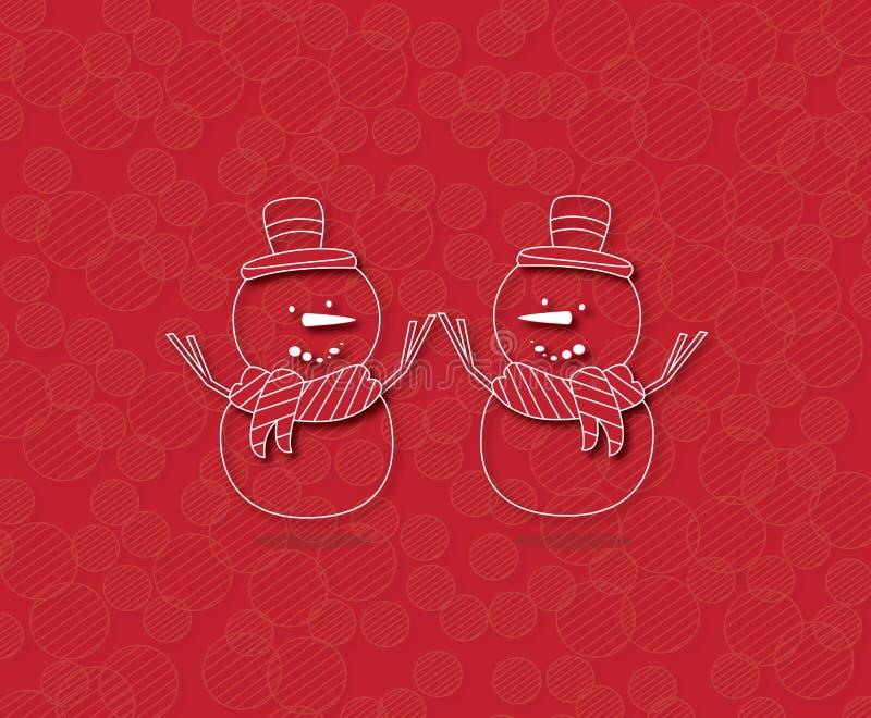 Счастливый снеговик 2 на красной предпосылке бесплатная иллюстрация