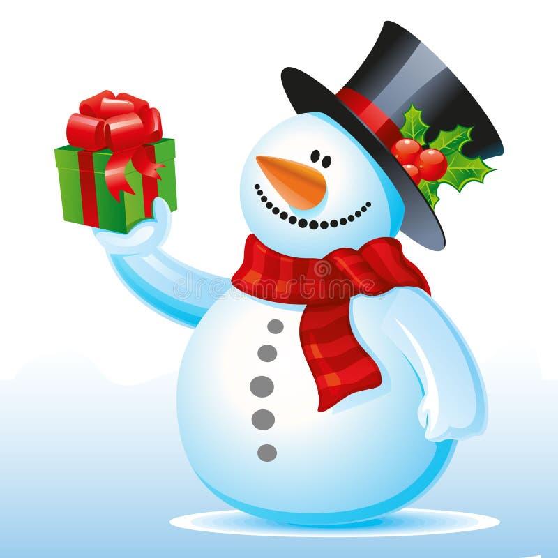Счастливый снеговик с подарком в руке, мультфильме на белой предпосылке иллюстрация штока