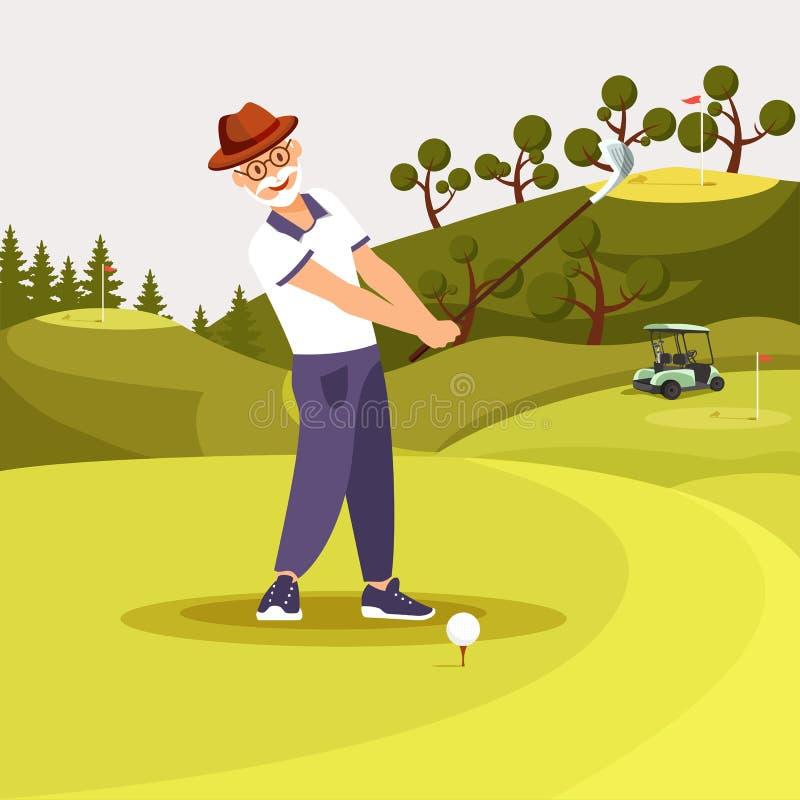 Счастливый старший бородатый человек в равномерном играя гольфе иллюстрация вектора