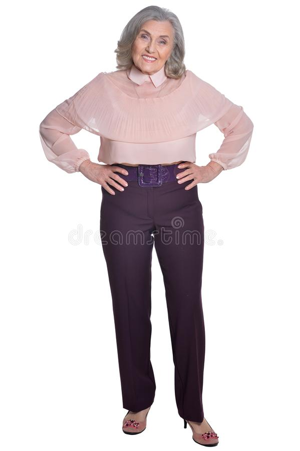 Счастливый старший представлять женщины стоковое изображение