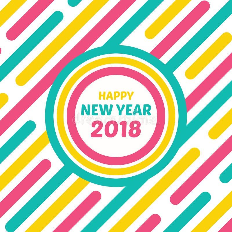 Счастливый стиль 2018 поздравительной открытки Нового Года неоновый ретро иллюстрация вектора