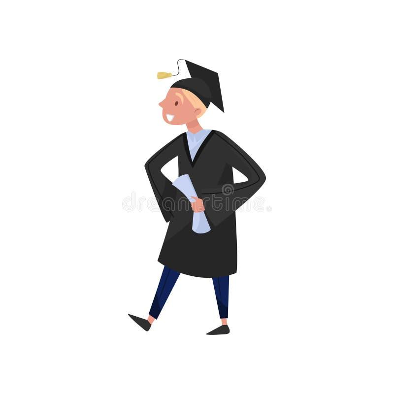 Счастливый студент-выпускник мужчины, усмехаясь мальчик студента градации в мантии и крышка держа диплом в его руках vector иллюс бесплатная иллюстрация