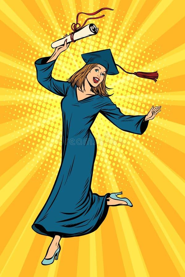 Счастливый студент-выпускник университета коллежа женщины бесплатная иллюстрация