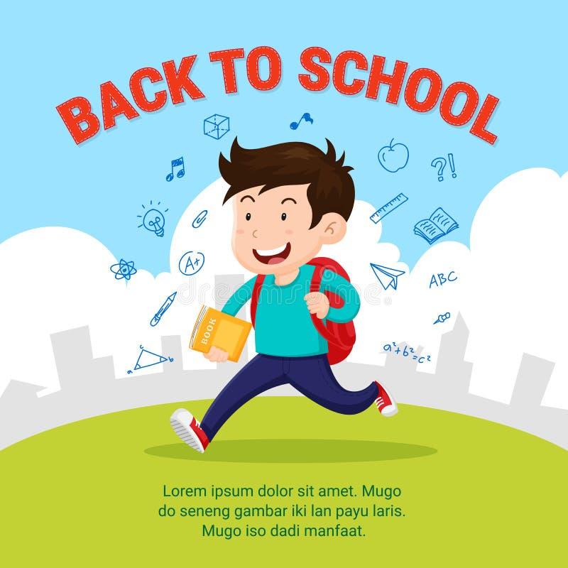 Счастливый студент идет к школе Назад к иллюстрации стиля школы плоской с doodle школьной деятельности иллюстрация вектора
