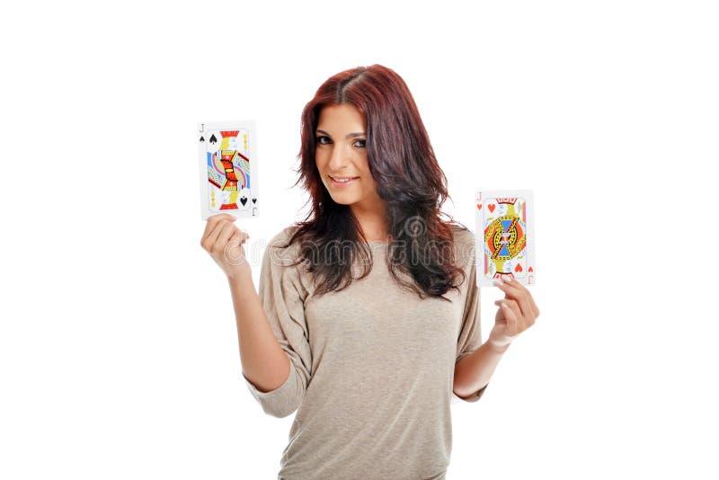 Счастливый с 2 карточками jack стоковые фотографии rf