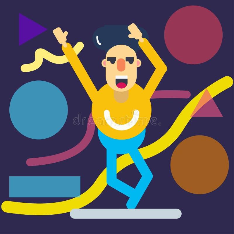 Счастливый танец характера иллюстрация штока