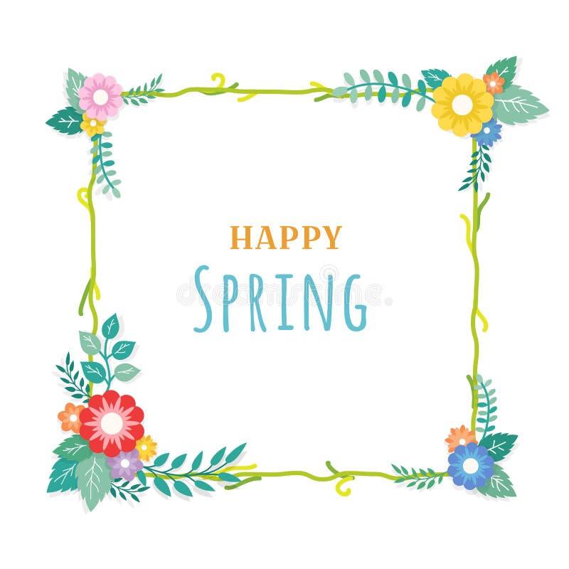 Счастливый текст весны с рамкой цветочной композиции букета и орнамента лист Поздравительная открытка, предпосылка, плакат, шабло иллюстрация штока