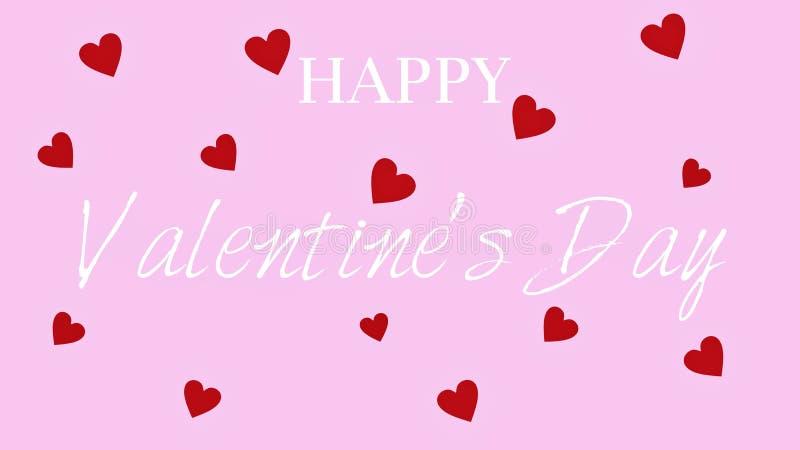 Счастливый текст дня Валентайн декоративный на розовой предпосылке стоковые изображения rf