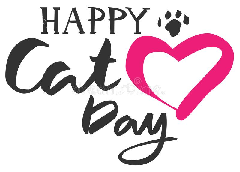 Счастливый текст дня кота Форма сердца и след ноги кота иллюстрация штока