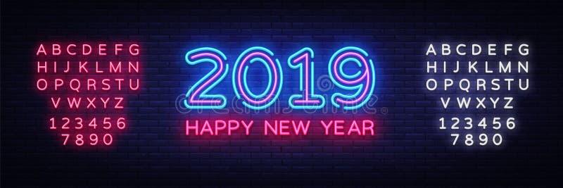 Счастливый текст неона Нового Года 2019 Шаблон дизайна 2019 Новых Годов для сезонных рогулек и поздравительной открытки или рожде бесплатная иллюстрация