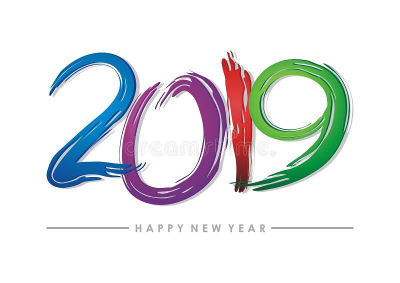 счастливый текст Нового Года 2019 - дизайн номера иллюстрация вектора