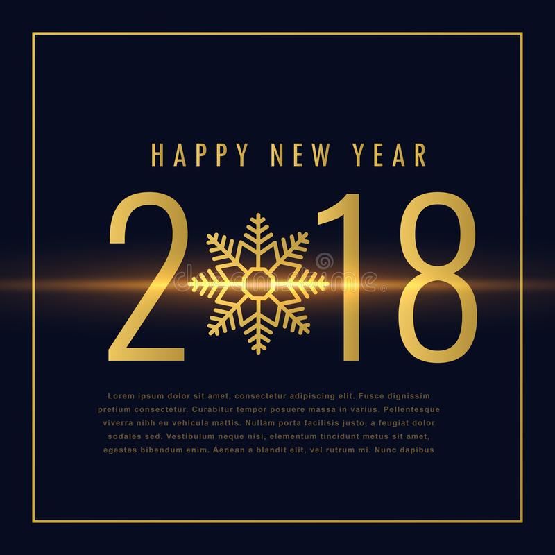 Счастливый текст Нового Года 2018 написанный в золотом стиле иллюстрация вектора