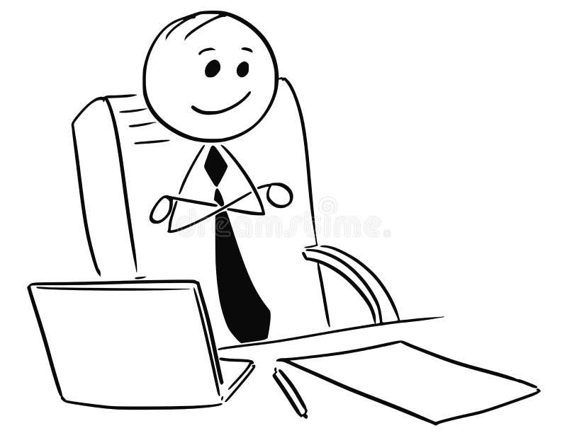 Счастливый удовлетворенный босс бизнесмена сидя при пересеченные оружия иллюстрация штока