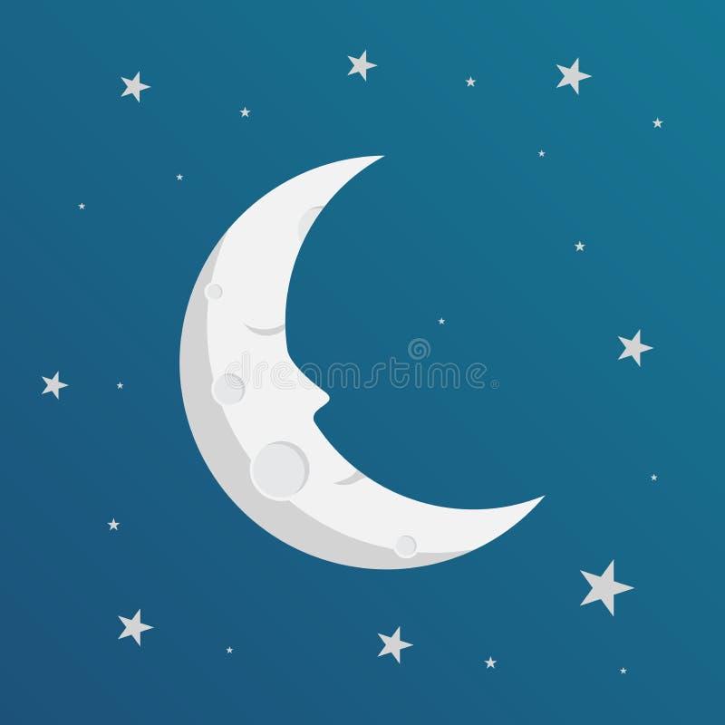 Счастливый усмехаясь дизайн луны, иллюстрация вектора иллюстрация вектора