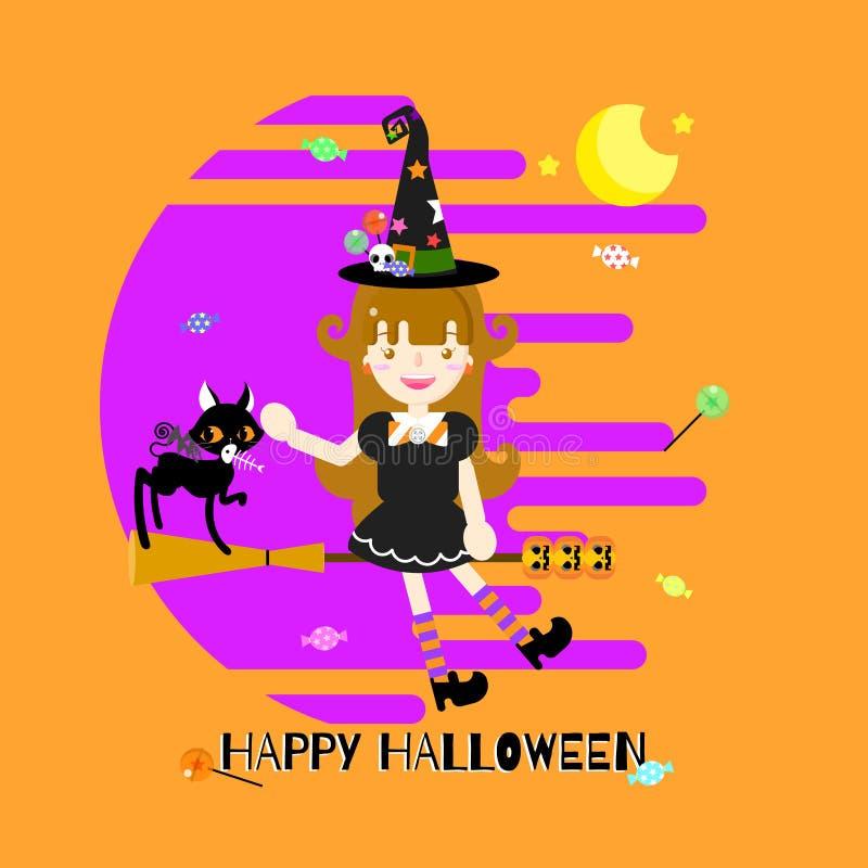 Счастливый фестиваль праздника хеллоуина с девушкой ведьмы и веником, черным котом, тыквой, конфетой бесплатная иллюстрация