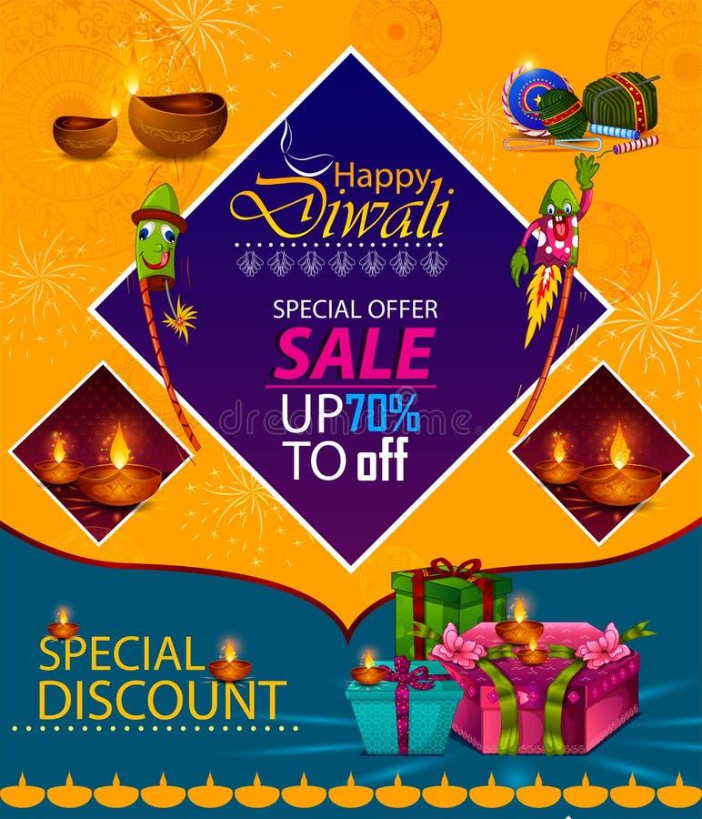 Счастливый фестиваль света Diwali предпосылки знамени продажи рекламы приветствию Индии иллюстрация штока