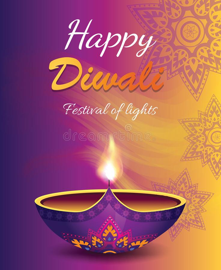 Счастливый фестиваль Diwali иллюстрации вектора света бесплатная иллюстрация