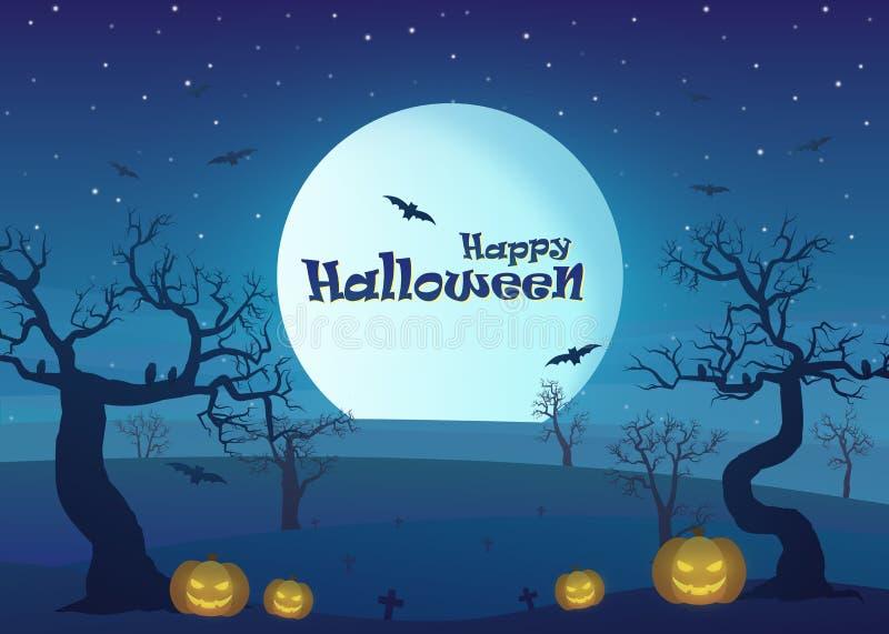 Счастливый хеллоуин в ландшафте зоны засухи на ноче с мертвыми деревом, тыквами, и полнолунием бесплатная иллюстрация