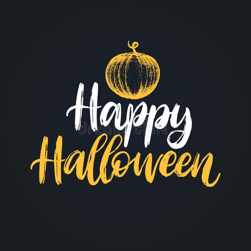 Счастливый хеллоуин, литерность руки Иллюстрация вектора тыквы на черной предпосылке Идея проекта для карточки, плаката бесплатная иллюстрация
