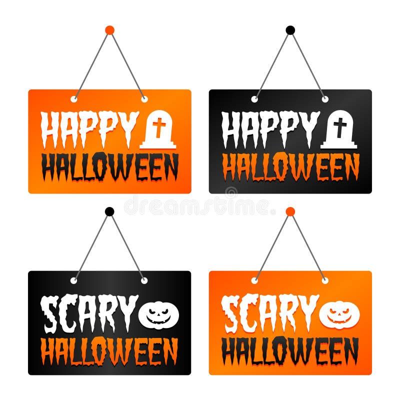 Счастливый хеллоуин - страшные знаки смертной казни через повешение хеллоуина Вектор Eps10 иллюстрация штока
