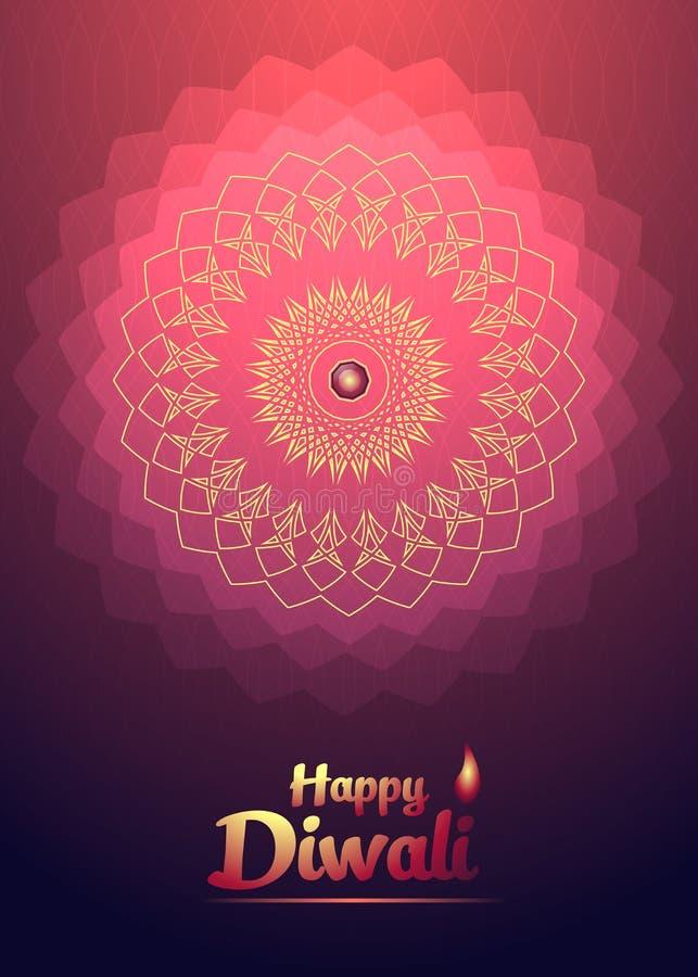 Счастливый цветок красного света предпосылки фестиваля Diwali иллюстрация вектора