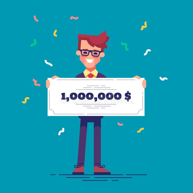 Счастливый человек в официально костюме держит банковский чек для миллиона долларов Концепция увеличения лотереи вектор иллюстрация штока