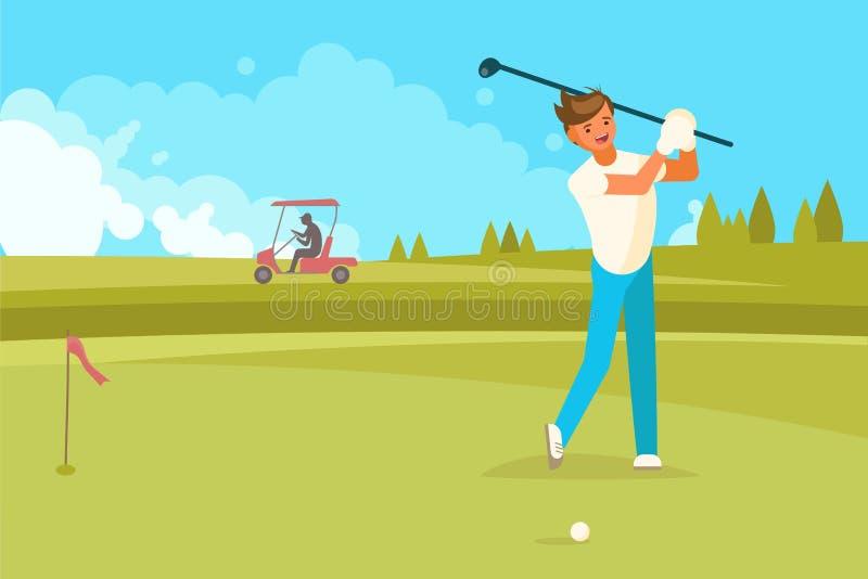 Счастливый человек играя иллюстрацию вектора гольфа плоскую иллюстрация вектора