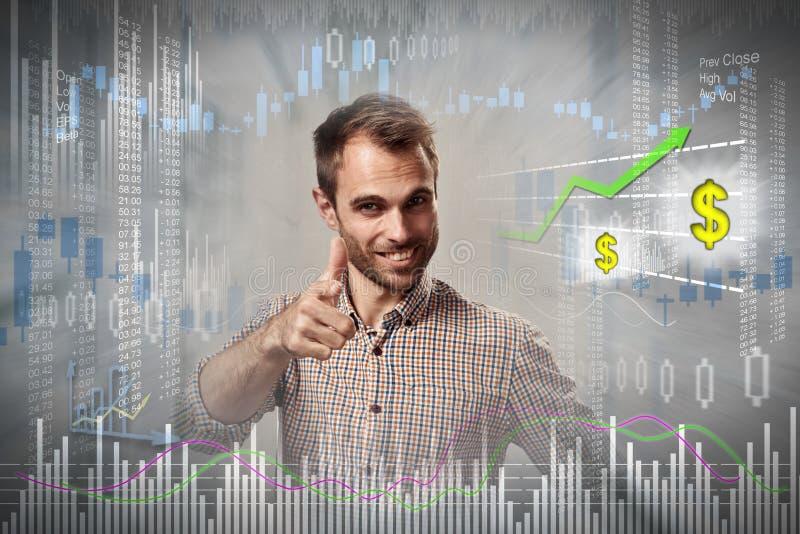 Счастливый человек инвестора стоковое фото rf