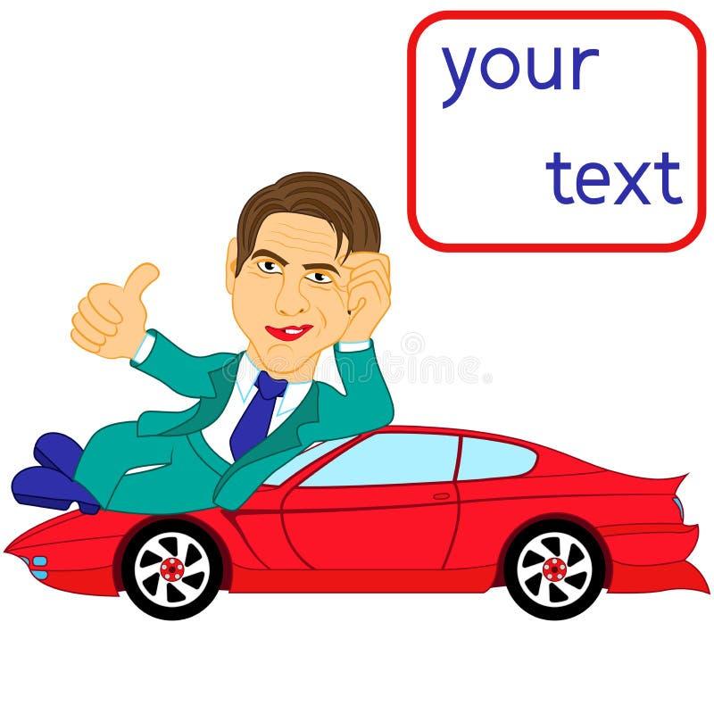 Счастливый человек лежа на красном автомобиле иллюстрация вектора