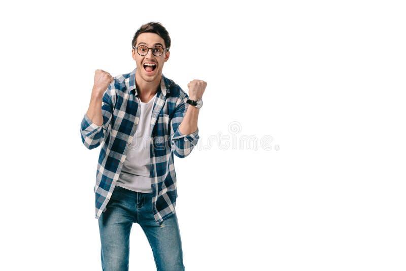 счастливый человек показывая да знак стоковое изображение