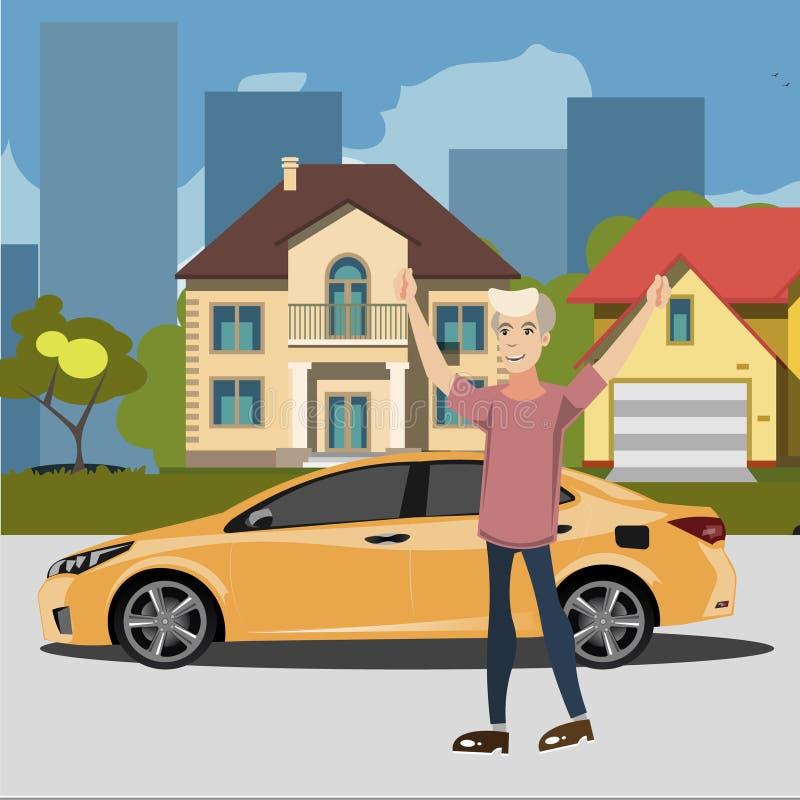 Счастливый человек стоя близко автомобиль иллюстрация штока