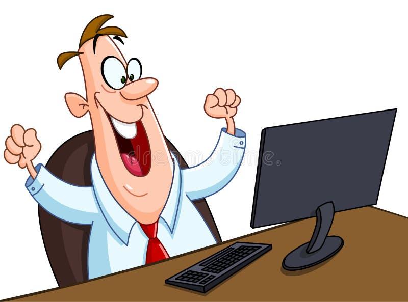 Счастливый человек с компьютером иллюстрация вектора