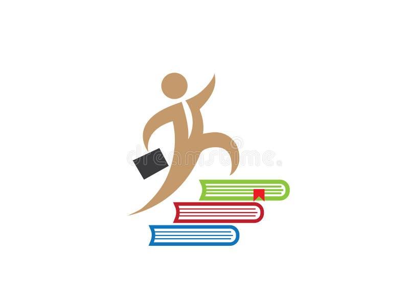 Счастливый человек с сумкой и связь, который побежали вверх на multi книг бесплатная иллюстрация