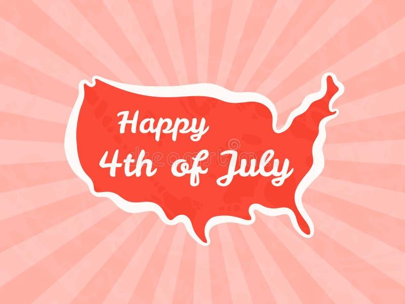 Счастливый четвертое -го июль и День независимости иллюстрация вектора
