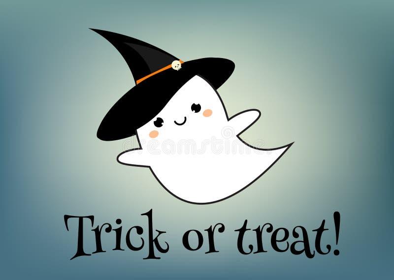 счастливый шаблон дизайна поздравительной открытки хеллоуина Знамя праздника с милым призраком в стиле kawaii и тексте фокуса или бесплатная иллюстрация