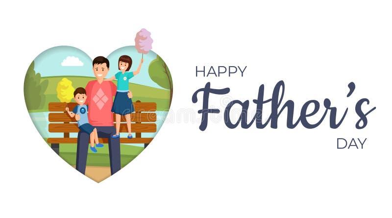 Счастливый шаблон знамени вектора дня отца Усмехаясь сын и дочь сидя на стенде в парке с персонажами из мультфильма папы иллюстрация штока