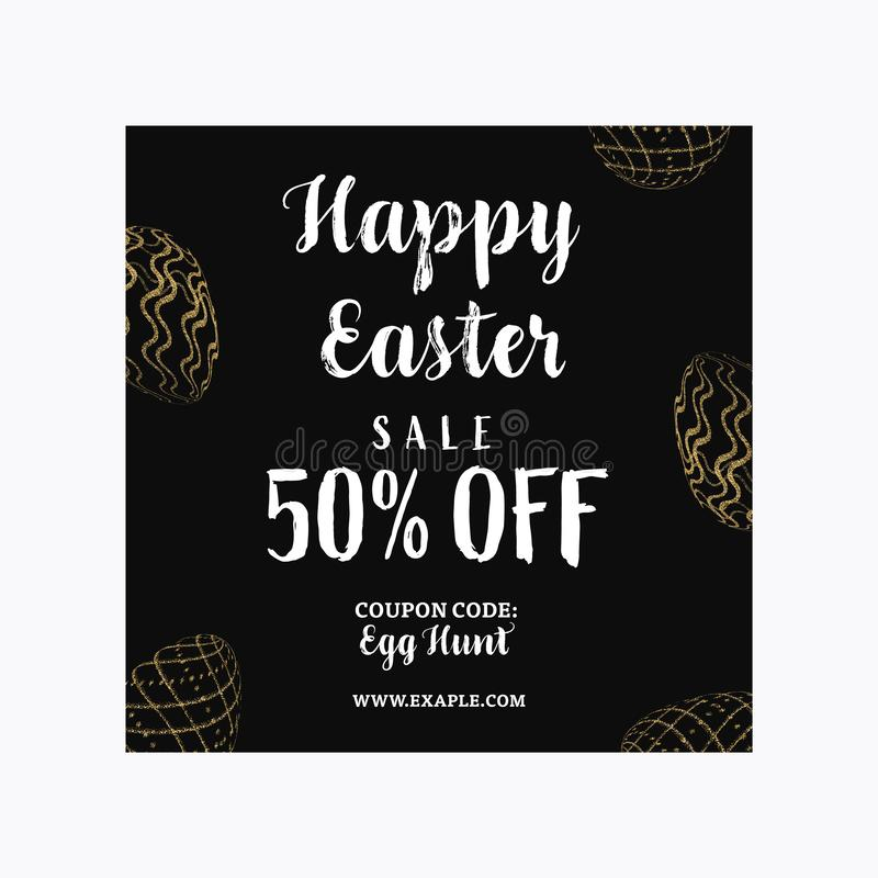 Счастливый шаблон знамени продажи пасхи с золотыми яйцами яркого блеска стоковая фотография