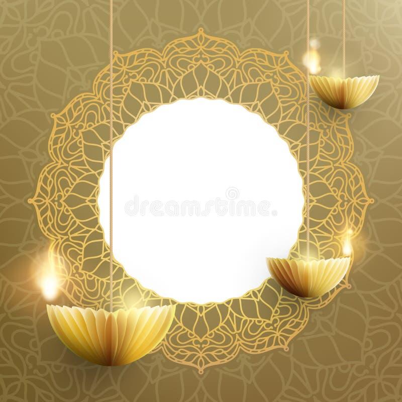 Счастливый шаблон карты Diwali Индийский фестиваль огней 10 eps иллюстрация вектора
