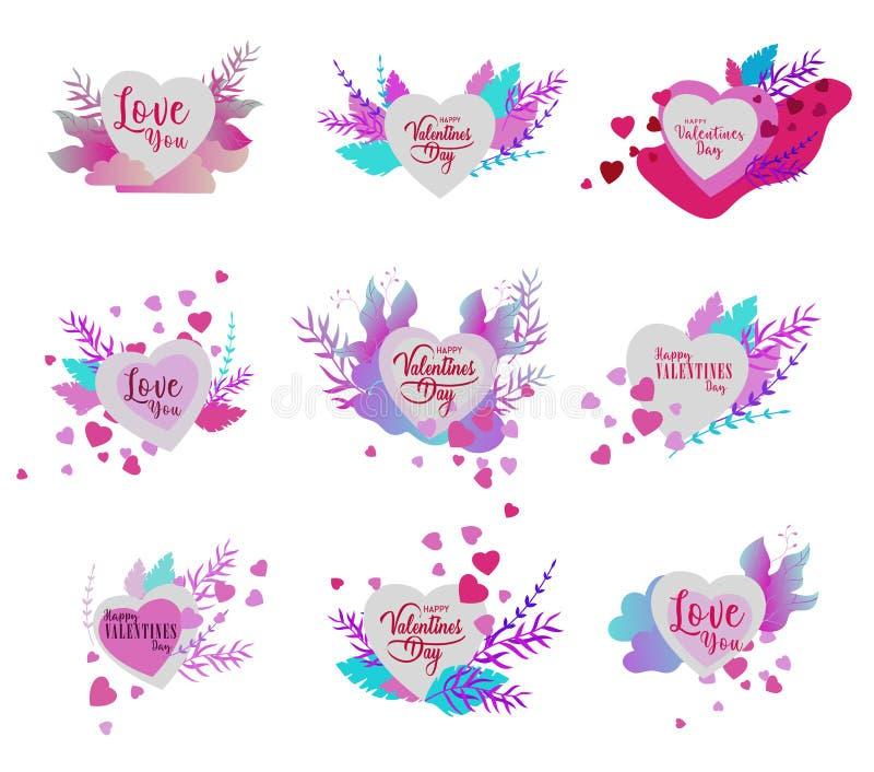 Счастливый шаблон карт дня Святого Валентина с в любовью изолированный в сердце на красочной абстрактной предпосылке, плакате офо бесплатная иллюстрация