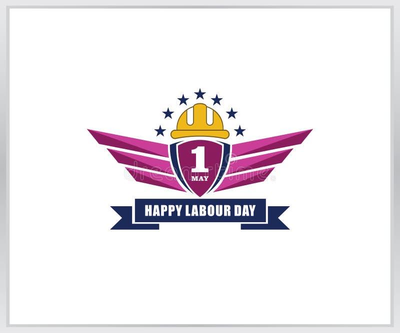 Счастливый шаблон логотипа Дня труда стоковые изображения
