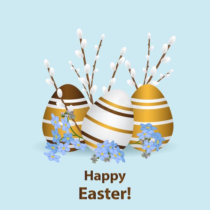 Счастливый шаблон поздравительной открытки пасхи Пестротканое реалистическое яичко бесплатная иллюстрация