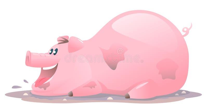 Счастливый шарж свиньи в грязи иллюстрация штока