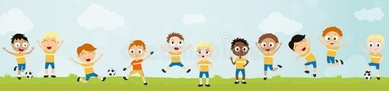 счастливый шарик играя детей - футбольной команды с 11 игроком иллюстрация вектора