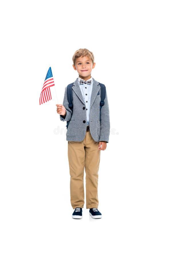 Счастливый школьник с флагом США стоковые фотографии rf